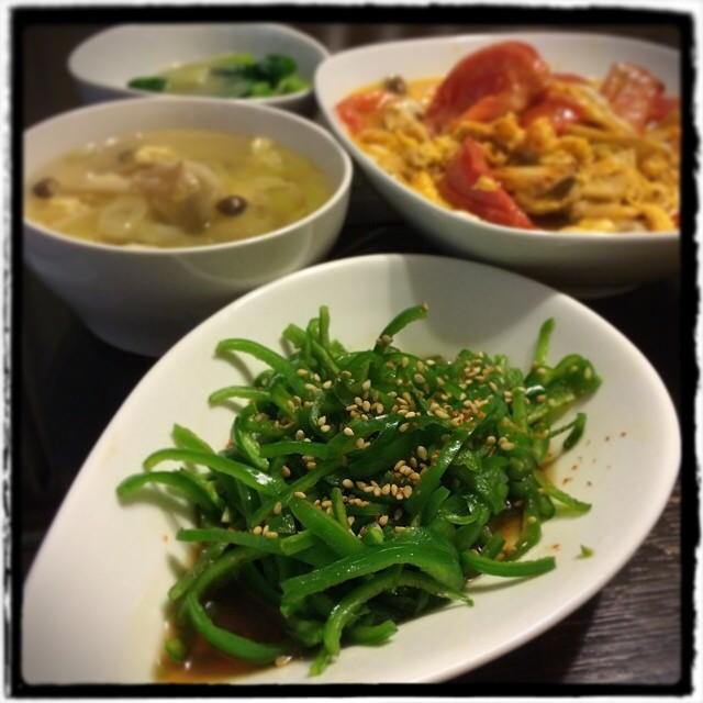 【今日はちょっとお祝い♡な日の晩ごはん】■今が旬。葉ねぎのぬた■ピーマンのきんぴら■トマトとエリンギの玉子炒め■中華風スープ■ちょっといいビール■ケーキ