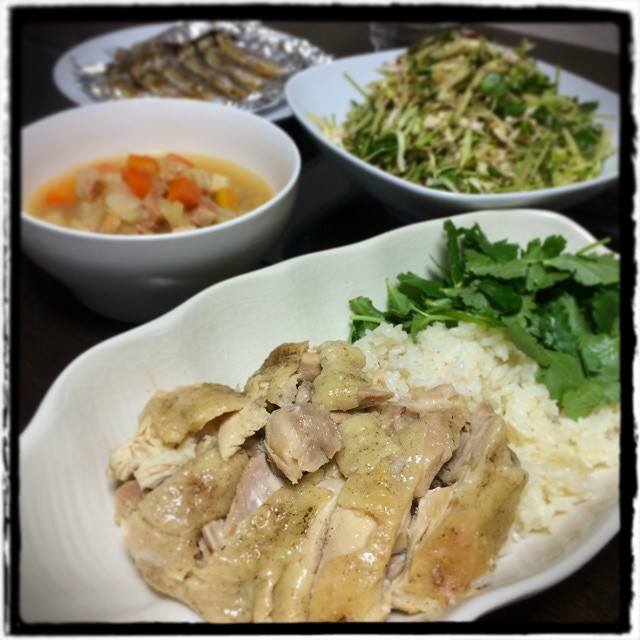 【セーターたくさん洗った日の晩ごはん】■キャベツと三つ葉の梅サラダ■ししゃも焼き■ガルビュールスープ■海南鶏飯(シンガポールチキンライス)■ビールもどき #dinner #cooking #Homemade #yam